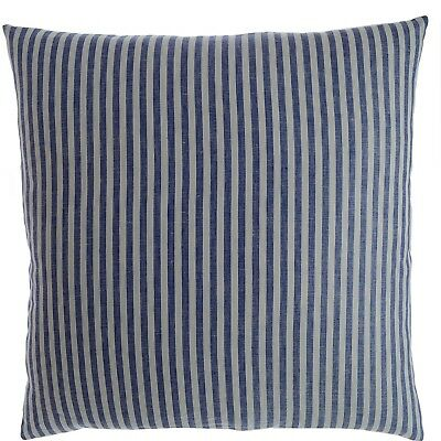 Luxury Linen Damask Navy Blue and White Striped 22x22 Large Square Pillow