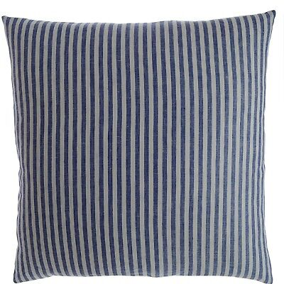 Luxury Linen Damask Navy Blue and White Striped 80cm Small Square Pillow Cover