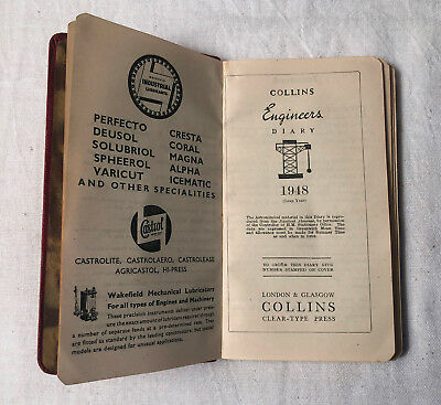 1948 COLLINS Engineers DIARY - Lots of information and Charts