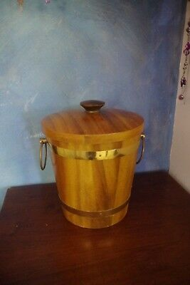 mid century modern teak ice bucket  brass binding and handles