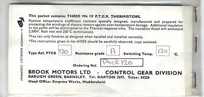 Brook Motors Ltd New Old Stock 3 Themistors MK 4 PTCR A120 Hawker Siddeley