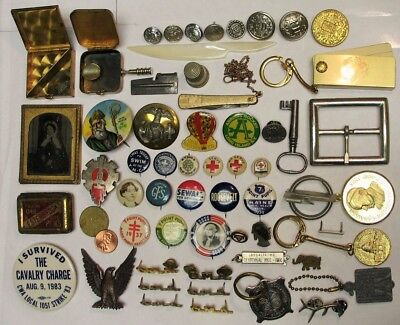 Large Mixed Lot Of Estate Antique  Vintage Junk Drawer  Pins military tin type