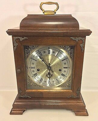 Vintage Hamilton Bracket Clock Runs & Strikes Westminster Chimes Needs Attention