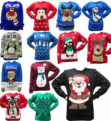 Childrens Long Sleeve Rudolph Merry Christmas multi pom Unisex Girls Boys Jumper