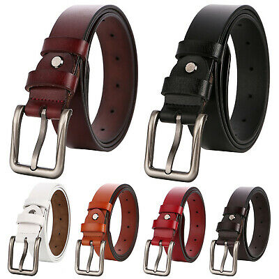 Women's Genuine Leather Classic Square Metal Buckle Handcrafted Jean Belt