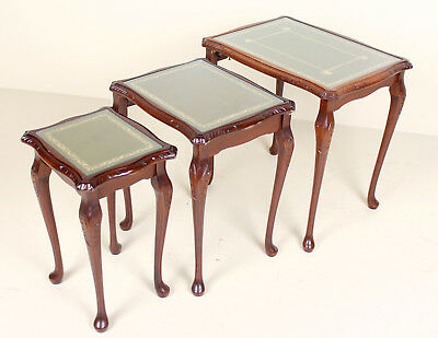Antique Vintage Mahogany Nest of Tables English Fine Quality Glass
