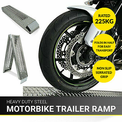 1.8M Bike Folding Steel Motorcycle Ramp Loading Motorbike Van/Truck Lawn Mower