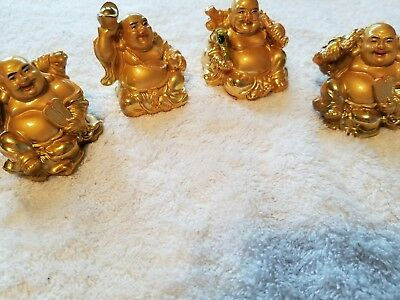 "2 "" Gold Happy Laughing Buddha Status 4 Figurines Set Prosperity Gift"