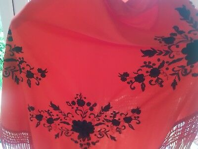 Ladies shawl gypsy embroidered red floral