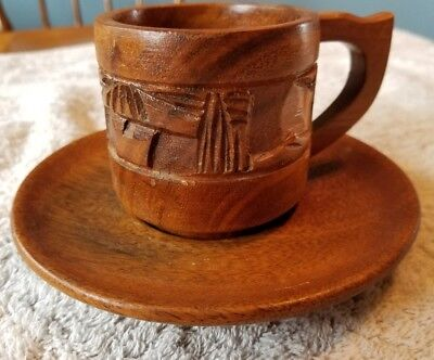 Vintage Hand Carved Face Tribal  Wooden Cup & Saucer  made in Philippines