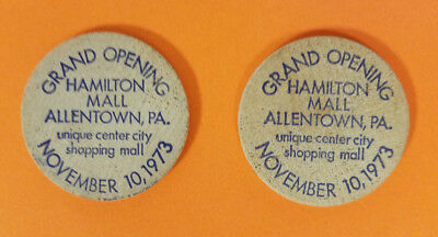 2 Wooden Chips -  Grand Opening Hamilton Mall Allentown, Pa November 10, 1973