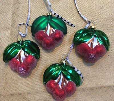 RARE Set Of 4 Mary Engelbreit Christmas Collection Glass Cherries Ornaments