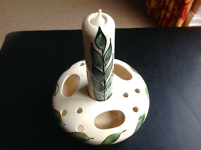 Hand Painted 'Jersey' Pottery Candle Holder and Pot Purri Bowl