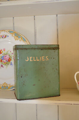 Gorgeous Old Green Genuine Vintage 1920/30/40S JELLIES Pantry Tin Kitchenalia