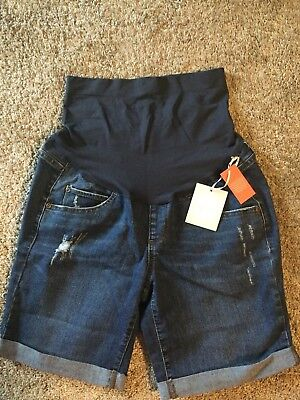 A Glow maternity shorts denim jean womens size 10 cuffed NWTS $44