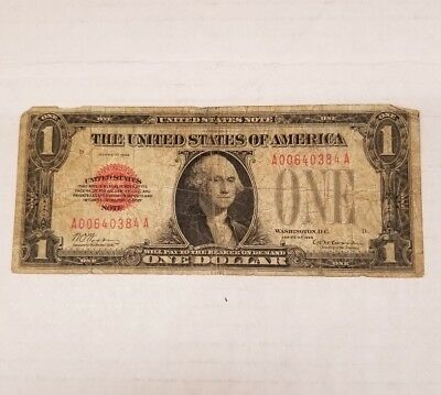"""1928 1 US Dollar Red Seal United States Note """" Funny Back"""