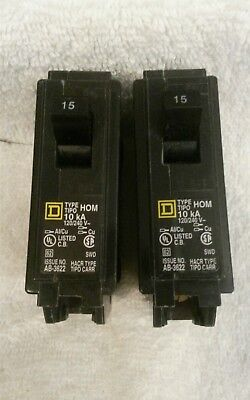 Lot of 2 Square D Homeline 15 Amp Single pole Circuit Breaker HOM115