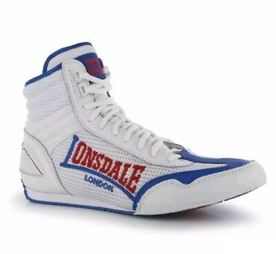 Lonsdale London Contender Boxing Boots White Blue Red 7
