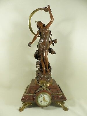 "Antique marble clock with Bronze Statue by LOUIS AUGUSTE MOREAU ""NUIT D'ETE"""
