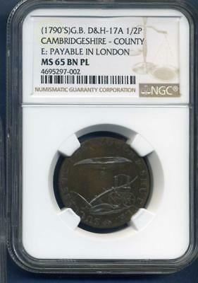 1790's Great Britain D&H 17A 1/2 penny NGC MS65BN PL,BEE HIVE Token inv#SL1335