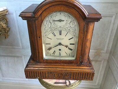 "Edwardian ""Fusee""  8 Day Silvered Dial Bracket  Clock In Oak Case."