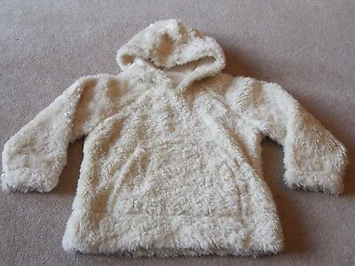 Girls Cream Faux Fur Fabric Cotton Lined Hoodie by Next - Age 4 yrs