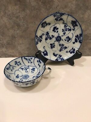 MINTY Early 1900's Blue & White Japanese Provincial Ware Teacup & Saucer