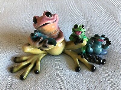 "2003 Kitty's Critters ""Full House"" Family of Frogs Porcelain Retired"