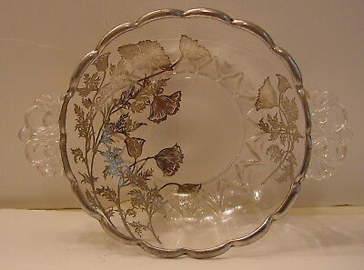 Vintage Silver Overlay Double Handled Clear Glass Candy Dish Excellent Condition