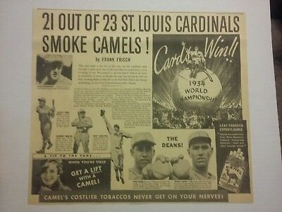 1934 Camels Cigarettes Ad Cardinals World Series Baseball Dean Collins Martin