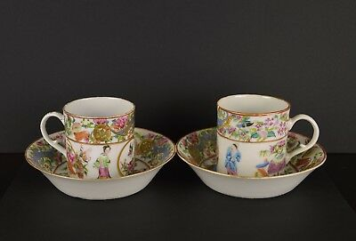 A Very Fine Pair Of Chinese 19Th Century Teacups & Saucers With Figures