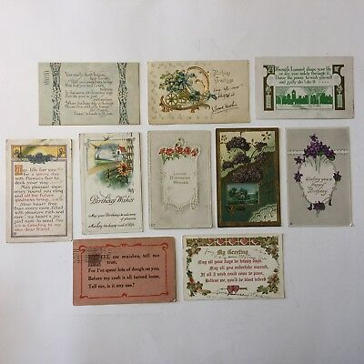 Bulk Lot Of 10 Happy Birthday Greetings Vintage Posted Postcards