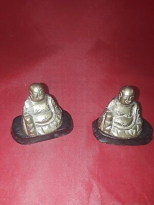 Two Vintage Small Seated Brass Buddha Figurines  Lot(1031-56)