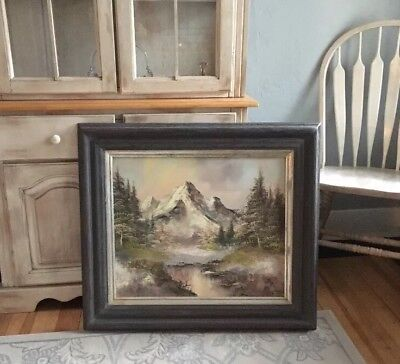Original Oil Painting Mountain Stream Landscape Signed Williams 32 X 28 Frame