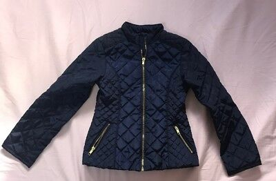 Girls H&M Navy Blue Zip Up Jacket With Side Pockets Pre Owned Sz 8-9