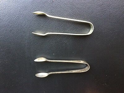 Two Vintage Sugar Tongues (different)  silversmith/maker marked