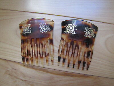 """PAIR Vintage Faux Tortoise Hair Combs Gold Roses """"FRANCE"""""""