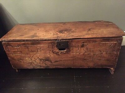 Antique 17th Century 6 Plank Oak Coffer Carved T B 1698
