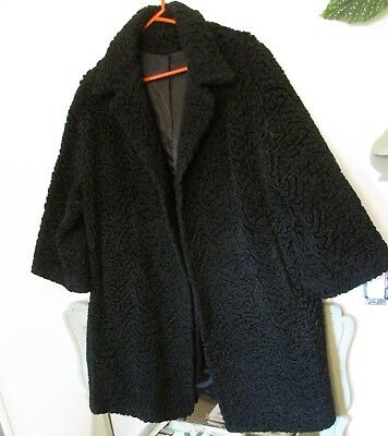 VINTAGE 60s Coat Jackie Kennedy style Curly Lamb 3/4 sleeves ~ STUNNING! MINT!