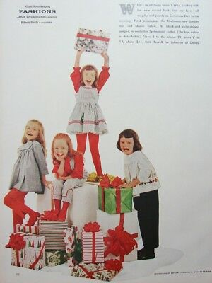 1959 Cute LITTLE GIRLS Dress Jumper Blouse Smock Pinafore 5 Page FASHION Xmas Ad