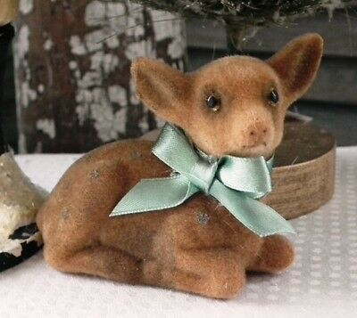 CODY FOSTER Adorable Retro-Style ~FLOCKED FAWN ORNAMENT~ Brand New!