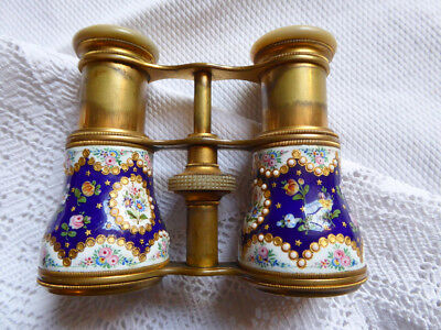 Beautiful Pair Of Antique French Brass & Enamel Handpainted Opera Glasses