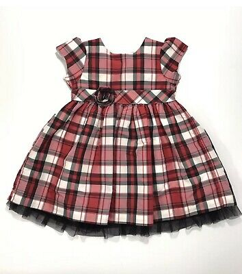 6989f79ab5df CARTERS BABY GIRLS Plaid Holiday Dress collar red black green velvet ...