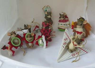 LOT OF 7 CHARMING TAILS ChristmasOrnaments