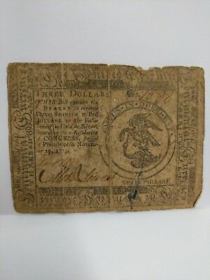 **   1775  Colonial Note Three  Dollar From Philadelphia   ***