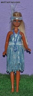 """Flapper Outfit Blue Made To Fit Pippa & Dawn Dolls Handmade Custom 6"""" No Doll"""