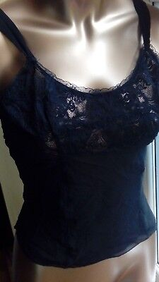"Vintage Camisole Top in Black Lace to Neck Line Sheer Bust 34"" D66"