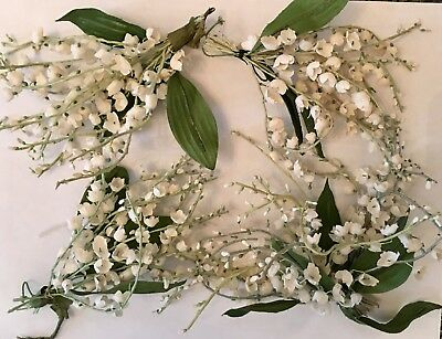 4 Vintage White Lily Of The Valley Millinery Flowers - Hats Dolls Bridal Floral