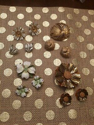 Lot of 3 Vintage Brooches With Matching Clip Earrings an 2 pair other clip ear
