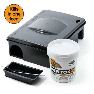 Strongest Rat and Mouse Killer Poison Blocks with Bait Station Box Vertox 25